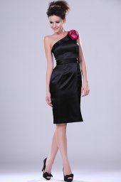 Nouveau Adoral robe noire à parti unique épaule