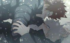 Katsuki, Eijirou, yaoi, blushing, snowing, winter, funny; My Hero Academia