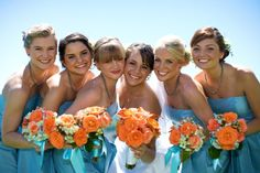 Fall Spring Summer Blue Orange Bouquet Wedding Flowers Photos & Pictures - WeddingWire.com