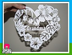 Grandma Flower Papercut Template, SVG / DXF Cutting File for Cricut / Silhouette & PDF Printable For Hand Cutting, Digital Download, by DigitalGems on Etsy