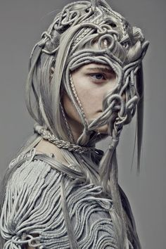 Artistic Fashion - grey macrame dress & mask with an experimental use of textiles to create structure; dark fashion // Nicole Paskauskas