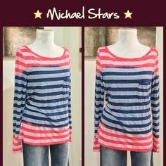 Michael Stars Tops - Michael Stars Striped Ombré Tee