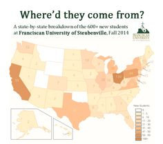 Where our incoming freshmen for 2014-15 came from around the U.S.