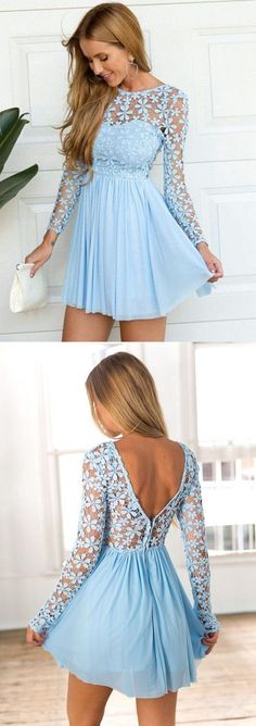 sky blue homecoming dresses long sleeves, cheap a-line fashion party dresses lace, elegant short prom dresses.