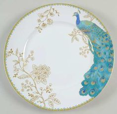 Pattern: Peacock Garden by 222 Fifth at Replacements, Ltd. Description: TURQUOISE PEACOCK, GOLD FLORAL, RIM, SMOOTH.