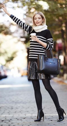 Ann Taylor Striped Mock Neck Sweater, Ann Taylor Sequin Mini Skirt, Ann Taylor Chunky Knit Gator, Ann Taylor Perfect Tight, Ann Taylor Pebbled Signature Tote, Ann Taylor Robyn Haircalf Ankle Boots