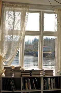 Something like this for kitchen window; curtains Something like this for kitchen window; curtains Related posts:Sauna mit Fenster & Steinmauer from my kitchen to family room? Interior Design Minimalist, Book Cafe, Lace Curtains, Window Curtains, Hanging Curtains, Layered Curtains, French Curtains, Luxury Curtains, Short Curtains
