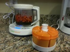 First attempt at making baby food with the baby brezza! Love it! #babybrezza #sweetpotato #carrotsnext