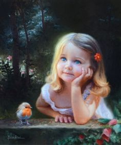 """""""Rouge-gorge"""" By Marina Dieul, from France - oil on linen; 16 x 20 in - Private Collection. Precious Children, Beautiful Children, The Artist Magazine, Foto Baby, Ansel Adams, Animation, Beautiful Paintings, Belle Photo, Love Art"""