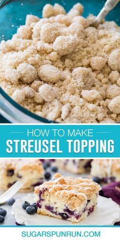 My streusel topping recipe will be your new go-to! All you need is one bowl and a few ingredients! Recipe includes a how-to video! Streusel Topping For Muffins, Crumble Topping, Easy Desserts, Delicious Desserts, Dessert Recipes, All You Need Is, Crumb Recipe, Baking Basics, Coffee Cake