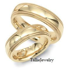 His & Hers Mens Womens Matching 14K Yellow Gold Wedding Bands Rings Set  7mm/7mm Wide  Sizes 4-12  Free Engraving  New on Etsy, $1,079.00