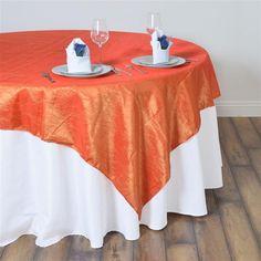 "60""x60"" Square Orange Crinkle Crushed Taffeta Table Overlay Rainbow Wedding Decorations, Rainbow Wedding Dress, Paper Decorations, Parties Decorations, Table Overlays, Black Tablecloth, Chair Sashes, Theme Color, Crinkles"