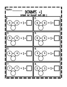 Help your students learn the strategy of doubles plus and minus one by using two and three part number bonds. Math Classroom, Kindergarten Math, Teaching Math, Math 2, Teaching Ideas, Math Worksheets, Math Resources, Printable Worksheets, Math Skills