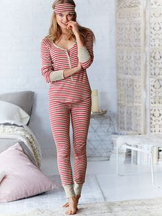 The Fireside Long Jane Pajama - size MED in shown, black and grey stripe, black and grey blur OR black with snow flakes