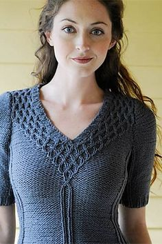 Ravelry: Briar Rose Tunic pattern by Elisabeth F. Parker -I don't like the weird seams or the lines running down the sides...