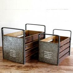 Tall Handle and Metal Side Wooden Milk Crate, Set of 2