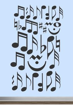 Vinyl Wall Lettering Assorted Musical Notes Graphic Decal Music Theme Room