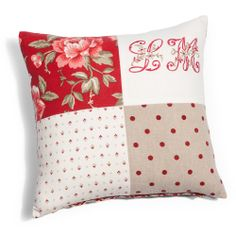 Vallauris 4 patches cushion cover Initial Cushions, Initial Pillow, 4 Patch Quilt, My Sewing Room, Sewing Rooms, Cushions To Make, Patchwork Pillow, Decorative Cushions, Quilted Table Runners
