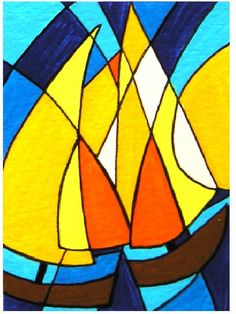 ACEO Nr 14 Abstract Boats original painting acrylic on by Pepponi, Pop Art, Art Carte, Abstract Pictures, Madhubani Art, Boat Painting, Tropical Art, Realistic Drawings, Elements Of Art, Painting Patterns