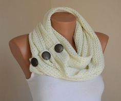 Ivory knit button infinity scarf winter scarfs neck warmer cowl birthday gifts women's accessory christmas gifts