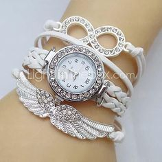USD $ 4.99 - Women's Watch Crystal Wing Infinity Leather Weave Band