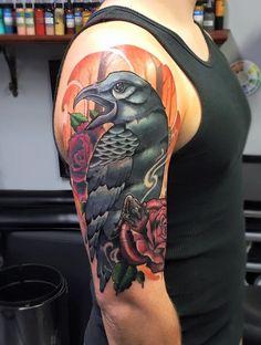 New school crow tattoo