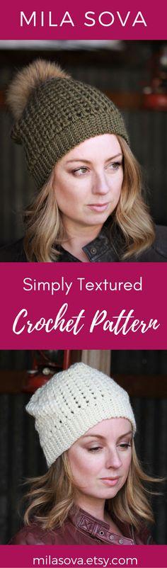 Textured crochet beanie pattern. Just slouchy enough, with fur pompom. DIY, handmade, fall fashion Mila Sova