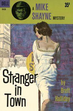 Robert McGinnis: Stranger In Town by Brett Halliday / Dell D425, 1961