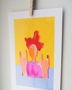 'Rock on in a pink jumper' giclee print + pp Pink Jumper, Powerful Women, Creative Art, Etsy Store, A4, Giclee Print, Original Art, Creatures, Bright