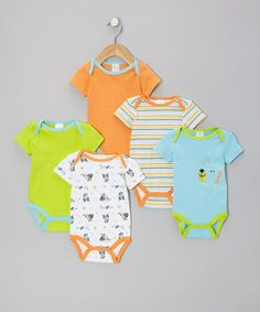 Take a look at this Teal Puppy Watch-Me-Grow Bodysuit Set by Baby Gear on #zulily today!