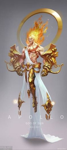 ArtStation - Apollo, Dongyu Mao Apos, out of divine conflict Fantasy Character Design, Character Design Inspiration, Character Concept, Character Art, Concept Art, Fantasy Kunst, Dark Fantasy Art, Fantasy Artwork, Fantasy Creatures