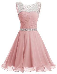Dresstells® Short Chiffon Open Back Prom Dress With Beading Homecoming Dress Blush Size 6