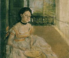 Woman Seated on a Balcony, New Orleans (Probably Mathilde Bell, née Musson), by Edgar Degas, 1872.