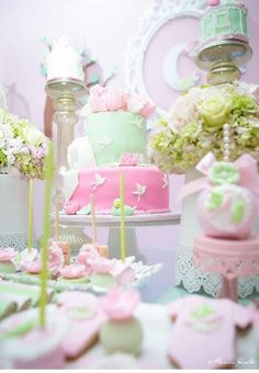Lovely pink and mint green baby shower party! See more party planning ideas at CatchMyParty.com!