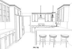 Darrough kitchen renovation interior design for beginners, interior design Kitchen Room Design, Best Kitchen Designs, Kitchen Layout, Drawing Interior, Interior Design Sketches, Interior Design For Beginners, Interior Architecture, Interior And Exterior, Interior Simple