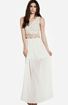 Sheer Lace Top Maxi Dress