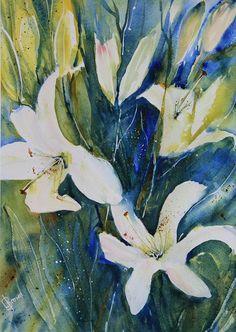 Art Background, Love Painting, Lorraine, Lilies, Watercolour, Florals, Bloom, Autumn, Children