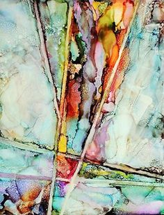 "Contemporary Artists of Louisiana: ""Ascending"" Original Alcohol Ink Abstract Painting by New Orleans Artist Lou Jordan"