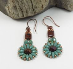 SUPERDUO CZECHMATE TILE Dangle Earrings-Umber Picasso-Turquoise Picasso-Copper-Red Copper Fire Polish-Miyuki Seed Beads by CinfulBeadCreations on Etsy