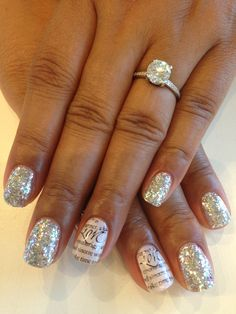 Feature nails were done in Bio Sculpture Gel colour: #163 - Angel White from the Elegant Bridal Collection.  Love scripture done with Bundle Monster stamping template.  Silver glitter nails all in loose glitter packed on with a clear gel seal.