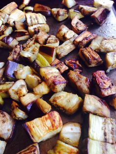 How to Roast Eggplant Cubes - Healthy, less oil than frying, tasty caramelized results. Yummy finger food, or add to your favorite recipe. via @toriavey