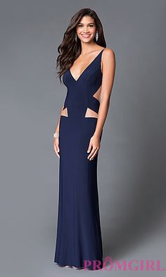 Long V-Neck Prom Dress with an Open Back and Cut Outs by Dave and Johnny at PromGirl.com