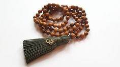 Items similar to Mens mala beads 108 olive green tassel, Hindu prayer beads hand. Items similar to Mens mala beads 108 olive green tassel, Hindu prayer beads hand knotted mala tasse How To Make Tassels, Beads For Sale, Wood Necklace, Prayer Beads, Wooden Beads, Olive Green, Boho, Inspiration, Quotes