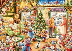 Ravensburger Puzzle - 19093 - The Christmas Shop - 1000 Teile Christmas Scenes, Christmas Past, Cozy Christmas, Christmas Shopping, All Things Christmas, Vintage Christmas, Christmas Cards, Christmas Child, Christmas Decorations