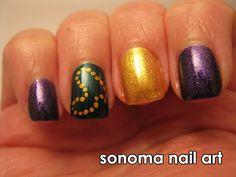 Sonoma Nail Art: Mardi Gras Nails check out www.MyNailPolishObsession.com for more nail art ideas.
