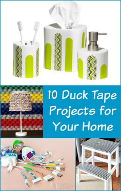 Decorate your home with these unique Duck Tape projects! These 10 ideas are easy to create and make a big impact. Which one is your favorite? Craft Projects For Adults, Projects To Try, Crafty Projects, Decorating Tips, Decorating Your Home, Crafts To Do, Diy Crafts, Handmade Crafts, Duct Tape Crafts