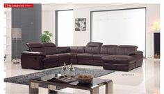 ESF Right Sectional Sofa 2146Description : This Right sectional sofa will perfectly accommodate any contemporary living room setting providing comfort to you and your friends.Materials:Half LeatherAdjustable HeadrestsBrown ColorDurable ConstructionDimensions: Sectional Right Sofa : W 145/115 x D 45 x H 33                                                                   (Swatches : See leather options in this model as given images)