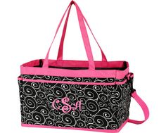 Great bag for carrying and organizing all your daily necessities. This bag has multiple open outside compartments, lined inside, and easy to carry handles plus a convenient shoulder strap. Makes a great shower gift!  Measuring 15.5 L x 8.5 W x 9.5 H  Trendy swirl pattern is one the latest fashion designs of the season!  Pictured: Party Time font  Select the following from the drop down menus: * Your Font Choice * Your choice of thread color  When you check out, please make sure to leave me…