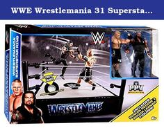 "WWE Wrestlemania 31 Superstar Ring Playset With Roman Reigns and Brock Lesnar Action Figures. Bring home the action of the WWE! Re-create your favorite matches with two approximately 6-inch figures in ""Superstar scale"" plus a WrestleMania-themed ring with authentic detailing for big event battle fun. Figures can pose in their iconic stances and feature amazing likeness, signature ring attire and Superstar details. With this ring and two-figure set, you can re-create a favorite match or…"