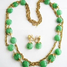 Vintage Green Lucite Bead Waterfall Necklace and Earrings Set - Sig......